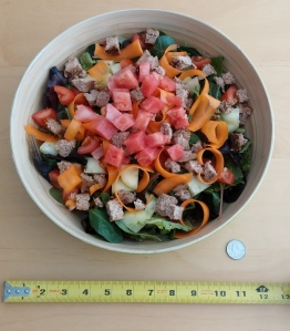 How to get ripped? Salad! This was an every evening snack for me. Yes, that is a one-foot diameter salad bowl, all for me (quarter shown for scale).