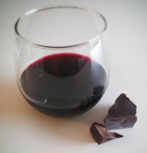 Here's a nice Rioja with 15 grams of Scharffen Berger 99% dark chocolate.