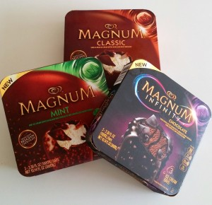 Magnum ice cream bars. 3 boxes = 1 serving (no).