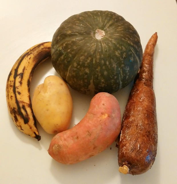 The holy quintet. Clockwise from top: kabocha squash, cassava, sweet potato, white potato, yellow plantain.